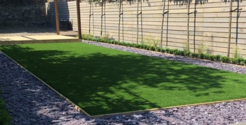 Artificial grass in a garden