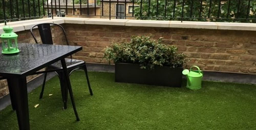 London rooftop terrace with artificial grass