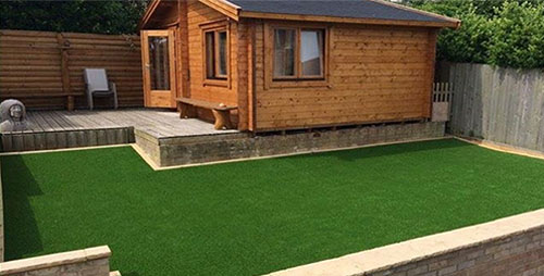 Artificial grass house front